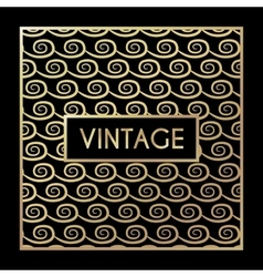 Golden vintage pattern on black background vector image