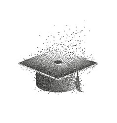 Graduation hat or mortar board divergent vector