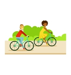 Guy And Girl Riding Bicycles Part Of People In vector image