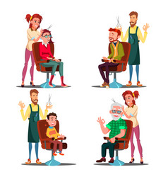 Hairdresser with client set boy teen vector