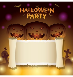Halloween Pumpkins with Scroll Paper vector image