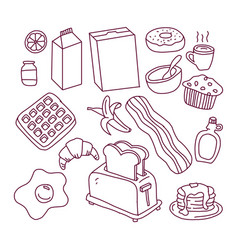hand drawn ink sketch icons set vector image