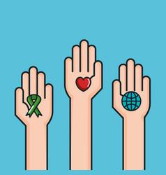 Hands symbol peace world love ribbon vector