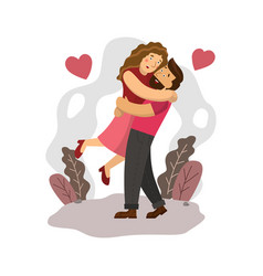 happy couple holding together with love in vector image