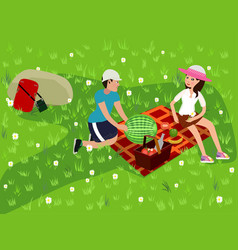 happy couple on a picnic girl and boy are resting vector image