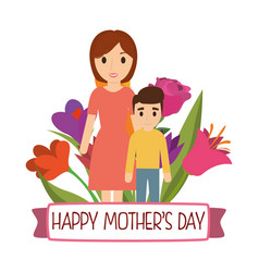 Happy mothers day mom and son bouquet flowers vector