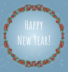 happy new year boho lettering in a wreath of red vector image