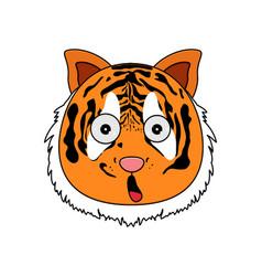Head of tiger in cartoon style kawaii animal vector