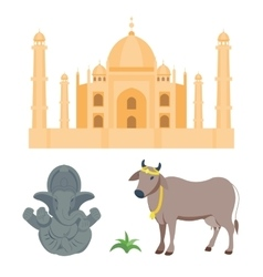 India taj mahal and budda elephant travel vector