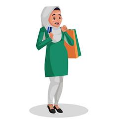 Indian muslim woman cartoon vector