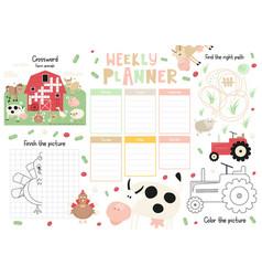Kids weekly planner template vector