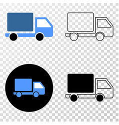 Lorry eps icon with contour version vector