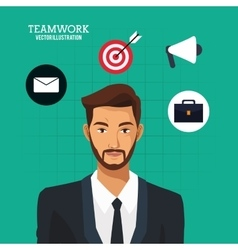 Man bearded business teamwork green background vector