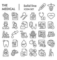 Medical line icon set healthcare symbols vector