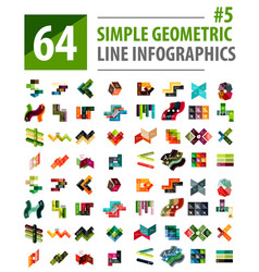 Mega collection line infographic design vector