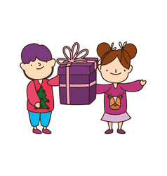 Merry christmas little boy girl with sweater and vector