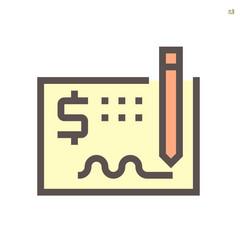 money check icon design for financial graphic vector image