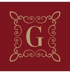 Monogram letter G Calligraphic ornament Gold vector