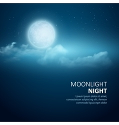 Night background Moon Clouds and shining vector