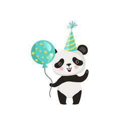panda holding glossy balloon and waving by paw vector image