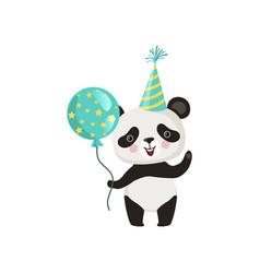 panda holding glossy balloon and waving paw vector image
