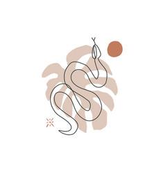 Pastel snake art print abstract modern digital vector