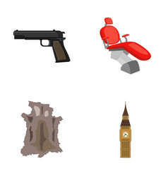 pistol toothpin and other web icon in cartoon vector image