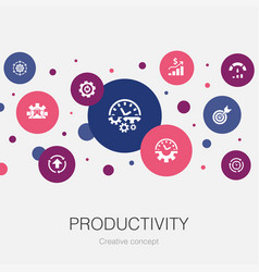 productivity trendy circle template with simple vector image
