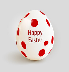 realistic easter egg with red spots happy easter vector image