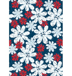 Red and white floral flowers with blue stitching vector