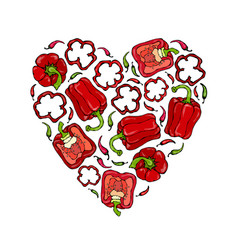 Red bell peper heart shape wreath half of sweet vector