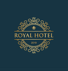 royal hotel with crown icon luxury logo vector image