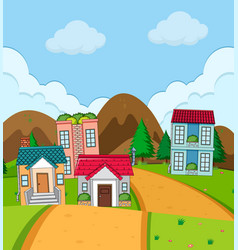 rural house village in nature vector image