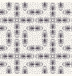 Seamless pattern hand drawn dotted trellis tracery vector