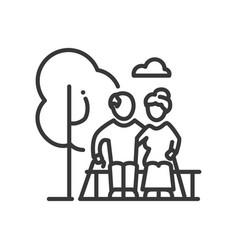 senior couple - line design single isolated vector image