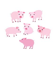 set cartoon cute pigs in vector image