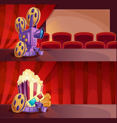 Set of cartoon banners with a cinema hall vector