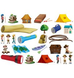 Set outdoor camp equipment vector