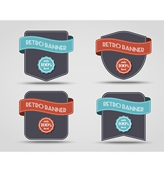 set retro banners labels vector image
