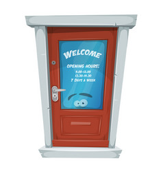 Shop entrance door with opening hours vector