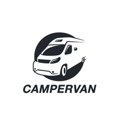 Simple camper van logo icon on white background vector