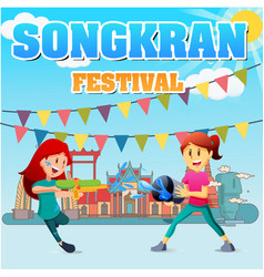 Songkran festival kids playing water temple backgr vector