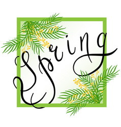 spring with handwritten text leaves vector image