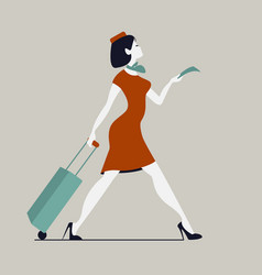 stewardess with luggage woman with baggage and vector image