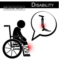stick man with leg fracture on wheelchair vector image