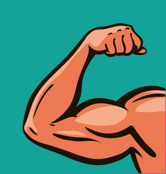 strong arm muscles gym comics style design vector image