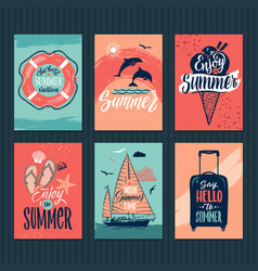 Summer tropical postcards or retro posters with vector