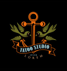 tattoo studio logo design retro styled emblem vector image