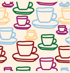 Tea cups seamless pattern design vector