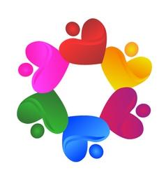 Teamwork charity hearts logo vector